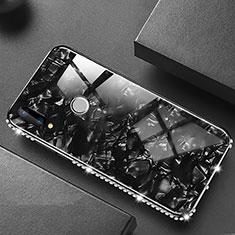 Coque Rebord Contour Silicone et Vitre Miroir Housse Etui M01 pour Huawei P20 Lite Noir