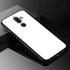 Coque Rebord Contour Silicone et Vitre Miroir Housse Etui M01 pour Nokia 7 Plus Blanc