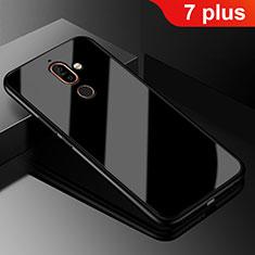 Coque Rebord Contour Silicone et Vitre Miroir Housse Etui M01 pour Nokia 7 Plus Noir