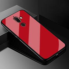 Coque Rebord Contour Silicone et Vitre Miroir Housse Etui M01 pour Nokia 7 Plus Rouge