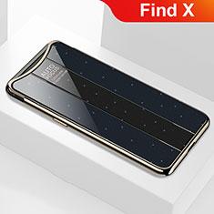 Coque Rebord Contour Silicone et Vitre Miroir Housse Etui M01 pour Oppo Find X Noir