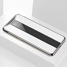 Coque Rebord Contour Silicone et Vitre Miroir Housse Etui M01 pour Oppo Find X Super Flash Edition Blanc