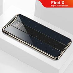 Coque Rebord Contour Silicone et Vitre Miroir Housse Etui M01 pour Oppo Find X Super Flash Edition Noir