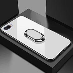 Coque Rebord Contour Silicone et Vitre Miroir Housse Etui M01 pour Oppo R17 Neo Blanc