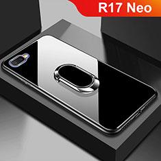Coque Rebord Contour Silicone et Vitre Miroir Housse Etui M01 pour Oppo R17 Neo Noir