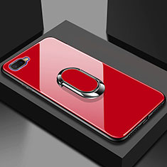 Coque Rebord Contour Silicone et Vitre Miroir Housse Etui M01 pour Oppo R17 Neo Rouge