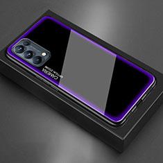 Coque Rebord Contour Silicone et Vitre Miroir Housse Etui M01 pour Oppo Reno5 5G Violet