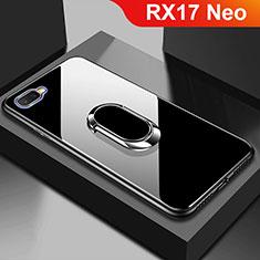 Coque Rebord Contour Silicone et Vitre Miroir Housse Etui M01 pour Oppo RX17 Neo Noir