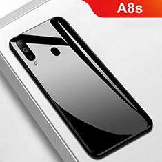 Coque Rebord Contour Silicone et Vitre Miroir Housse Etui M01 pour Samsung Galaxy A8s SM-G8870 Noir