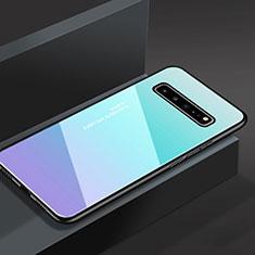 Coque Rebord Contour Silicone et Vitre Miroir Housse Etui M01 pour Samsung Galaxy S10 5G SM-G977B Bleu Ciel