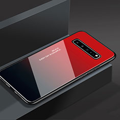 Coque Rebord Contour Silicone et Vitre Miroir Housse Etui M01 pour Samsung Galaxy S10 5G SM-G977B Rouge