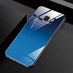 Coque Rebord Contour Silicone et Vitre Miroir Housse Etui M01 pour Samsung Galaxy S9 Bleu