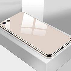 Coque Rebord Contour Silicone et Vitre Miroir Housse Etui M02 pour Apple iPhone 6S Plus Or