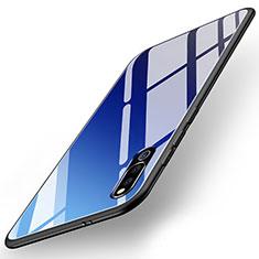 Coque Rebord Contour Silicone et Vitre Miroir Housse Etui M02 pour Huawei Honor Magic 2 Bleu