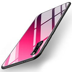 Coque Rebord Contour Silicone et Vitre Miroir Housse Etui M02 pour Huawei Honor Magic 2 Rouge