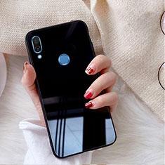 Coque Rebord Contour Silicone et Vitre Miroir Housse Etui M02 pour Huawei P20 Lite Noir