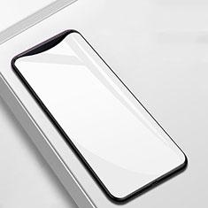 Coque Rebord Contour Silicone et Vitre Miroir Housse Etui M02 pour Oppo Find X Blanc