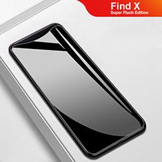 Coque Rebord Contour Silicone et Vitre Miroir Housse Etui M02 pour Oppo Find X Super Flash Edition Noir