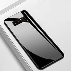 Coque Rebord Contour Silicone et Vitre Miroir Housse Etui M02 pour Samsung Galaxy Note 8 Noir