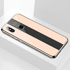 Coque Rebord Contour Silicone et Vitre Miroir Housse Etui M02 pour Xiaomi Mi A2 Or