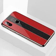 Coque Rebord Contour Silicone et Vitre Miroir Housse Etui M02 pour Xiaomi Mi A2 Rouge