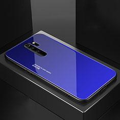 Coque Rebord Contour Silicone et Vitre Miroir Housse Etui M02 pour Xiaomi Redmi Note 8 Pro Bleu