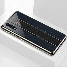 Coque Rebord Contour Silicone et Vitre Miroir Housse Etui M03 pour Huawei P20 Noir