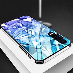 Coque Rebord Contour Silicone et Vitre Miroir Housse Etui M03 pour Huawei P30 Bleu
