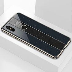 Coque Rebord Contour Silicone et Vitre Miroir Housse Etui M03 pour Xiaomi Mi Mix 3 Noir