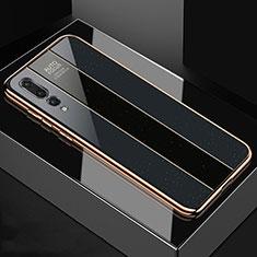 Coque Rebord Contour Silicone et Vitre Miroir Housse Etui M04 pour Huawei P20 Pro Noir