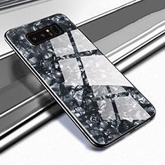 Coque Rebord Contour Silicone et Vitre Miroir Housse Etui M04 pour Samsung Galaxy Note 8 Noir