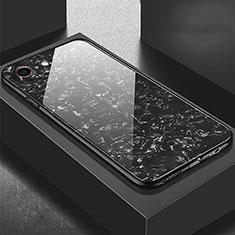 Coque Rebord Contour Silicone et Vitre Miroir Housse Etui P01 pour Apple iPhone 6 Plus Noir