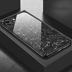 Coque Rebord Contour Silicone et Vitre Miroir Housse Etui P01 pour Apple iPhone 6S Plus Noir