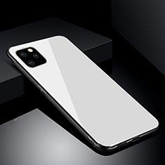 Coque Rebord Contour Silicone et Vitre Miroir Housse Etui pour Apple iPhone 11 Pro Max Blanc