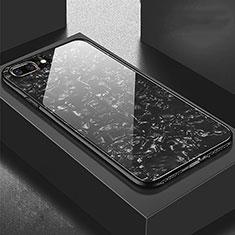 Coque Rebord Contour Silicone et Vitre Miroir Housse Etui pour Apple iPhone 8 Plus Noir
