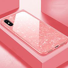 Coque Rebord Contour Silicone et Vitre Miroir Housse Etui pour Apple iPhone X Or Rose