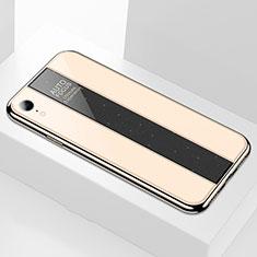 Coque Rebord Contour Silicone et Vitre Miroir Housse Etui pour Apple iPhone XR Or