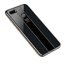 Coque Rebord Contour Silicone et Vitre Miroir Housse Etui pour Huawei Enjoy 8 Plus Noir
