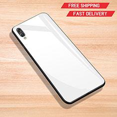 Coque Rebord Contour Silicone et Vitre Miroir Housse Etui pour Huawei Enjoy 9 Blanc