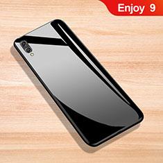 Coque Rebord Contour Silicone et Vitre Miroir Housse Etui pour Huawei Enjoy 9 Noir