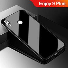 Coque Rebord Contour Silicone et Vitre Miroir Housse Etui pour Huawei Enjoy 9 Plus Noir