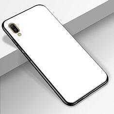 Coque Rebord Contour Silicone et Vitre Miroir Housse Etui pour Huawei Enjoy 9e Blanc