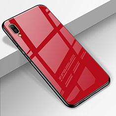 Coque Rebord Contour Silicone et Vitre Miroir Housse Etui pour Huawei Enjoy 9e Rouge