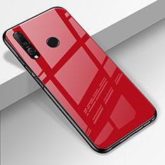 Coque Rebord Contour Silicone et Vitre Miroir Housse Etui pour Huawei Enjoy 9s Rouge
