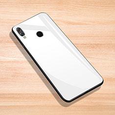 Coque Rebord Contour Silicone et Vitre Miroir Housse Etui pour Huawei Enjoy Max Blanc
