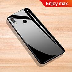 Coque Rebord Contour Silicone et Vitre Miroir Housse Etui pour Huawei Enjoy Max Noir