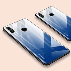Coque Rebord Contour Silicone et Vitre Miroir Housse Etui pour Huawei Honor 10 Lite Bleu