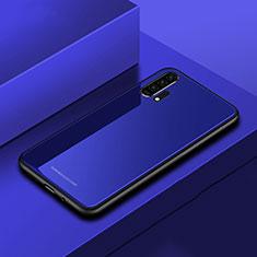 Coque Rebord Contour Silicone et Vitre Miroir Housse Etui pour Huawei Honor 20 Pro Bleu