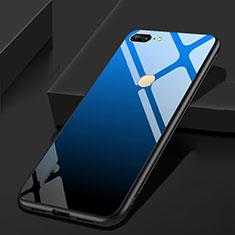Coque Rebord Contour Silicone et Vitre Miroir Housse Etui pour Huawei Honor 9 Lite Bleu et Noir