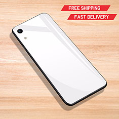 Coque Rebord Contour Silicone et Vitre Miroir Housse Etui pour Huawei Honor Play 8A Blanc